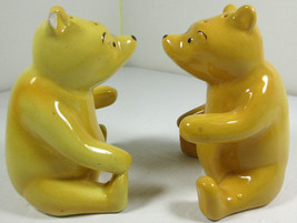 Winnie the Pooh Salt & Pepper Shakers Disney Golden Bears Mexico Ceramic Vintage - $14.80