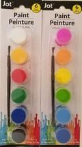 Children's Washable 6 Color Paint Pot Sets & Brush Select: Primary or Ne... - $2.99
