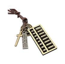 2 Pieces Of Retro Artistic Cow Leather Cord Abacus Pendant Necklace