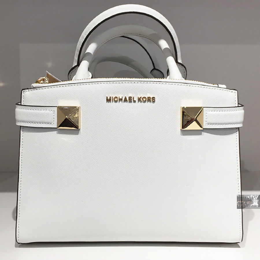 730132244437 S l1600. S l1600. Previous. $328 NWT MICHAEL KORS KARLA SMALL EW SATCHEL  SAFFIANO LEATHER STUD PURSE WHITE