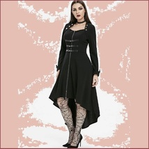 Retro Gothic Long Cuffed Sleeves 3 Bust Straps Zip Up Asymmetrical Hem Dress