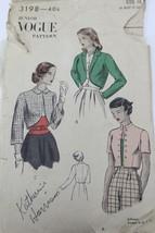 VTG 1940s Sewing Pattern Vogue #3198 Size 15 Bust 33 Hip 37 Bolero Jacket - $16.84