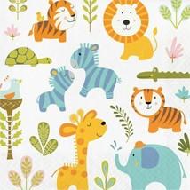 Happi Jungle Print 16 Ct Luncheon Napkins 1st Birthday Baby Shower - $5.29