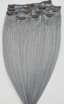 """18"""",20"""",22"""",24"""" 100% REMY Human Hair Extensions 7Pcs Clip in # Sterling Silver  - $69.29+"""