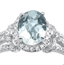 1.42cts 10k White Gold Oval Green Amethyst Diamond Ring  image 3