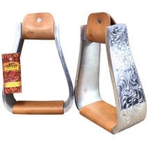 Engraved Aluminum Deep Roper Horse Saddle Stirrups Hilason U--207 - $69.99