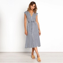 Navy blue white striped Vneck button down midi length women dress spring... - $36.00