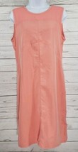 Calvin Klein Jeans Dress Sz Medium Women Orange Sleeveless Button Back S... - $28.71