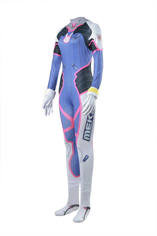 Halloween Women's Overwatch DVa Bodysuit Cosplay Costume Spandex Jumpsuit