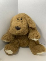 Russ Plus brown plush sitting puppy dog 55622 stuffed animal white cream paws - $19.79