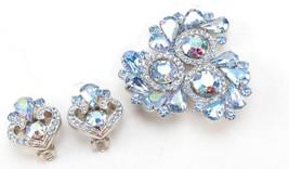 GARNE D & E Ice Blue Aurora Borealis Demi Parure Vintage Signed Brooch E... - $94.29