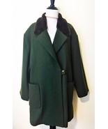 Vintage Newport News Coat Womens Size 16 Wool Blend Green Faux Fur Trim - $87.08