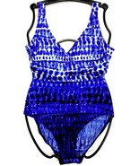 NWOT Womens Blue/White ESSENTIALS BY GOTTEX One-Piece Swimsuit Size 8 - $20.85