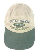 JOHN DEERE Ball Cap unisex adult tan green embroidered EUC adjustable - $12.73