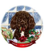 Portuguese Water Chocolate Dog Porcelain Ornament Pet Gift 'Santa. I Can... - $18.34