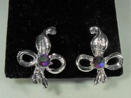 Silver Tone & Red Aurora Borealis Earrings - $7.92