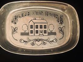 Wilton rWp Vintage Bread Tray USA Metal Wilton CO Bless This House 9-1/2... - $17.82