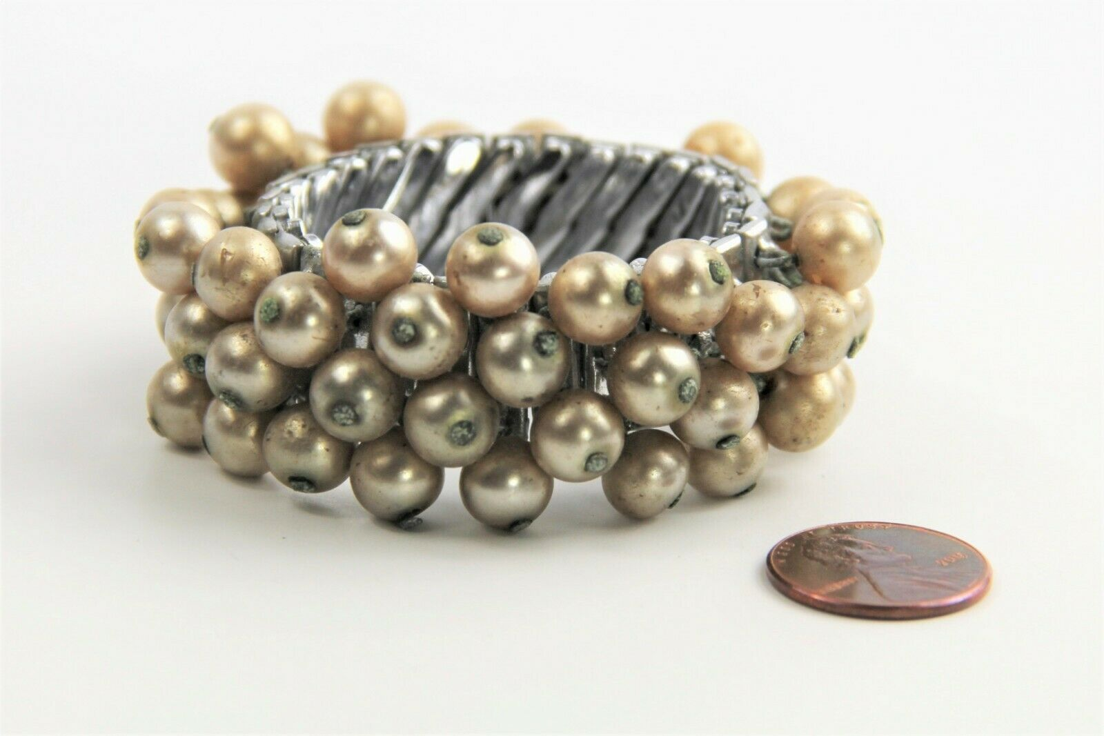 "7"" ESTATE VINTAGE Jewelry FX PEARL CHA CHA EXPANSION BRACELET 1950's"