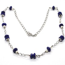 SILVER 925 NECKLACE, LAPIS LAZULI BLUE DISCO FACETED, PEARLS, 17 11/16in image 1