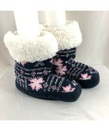 Girls Bootie Slippers Knit Fair Isle Sherpa Lined Soft Sole Navy Blue Pi... - $14.50