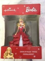 Hallmark Barbie Red Dress Blonde Hair Doll Christmas Tree Ornament Holid... - $14.84