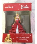 Hallmark Barbie Red Dress Blonde Hair Doll Christmas Tree Ornament Holiday Gift - $14.84
