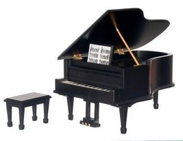 Dollhouse Miniature Piano w/Bench, Black #D4121 - $53.74