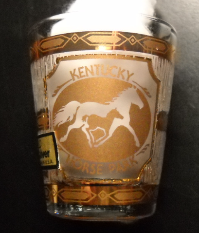 Kentucky Horse Park Shot Glass Culver 22K Gold Frosted Panels Made In USA