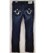 True Religion Womens Dark Wash Straight Leg Sequin Embellished Flap Pock... - $49.99