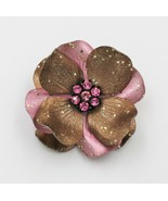 Vintage Pink Gold Glitter Full Bloom Flower Brooch Pin - $9.89