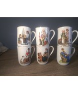 Norman Rockwell Museum Collection 1982 Coffee Mugs Cups Gold Trim Set of 6 - $19.77