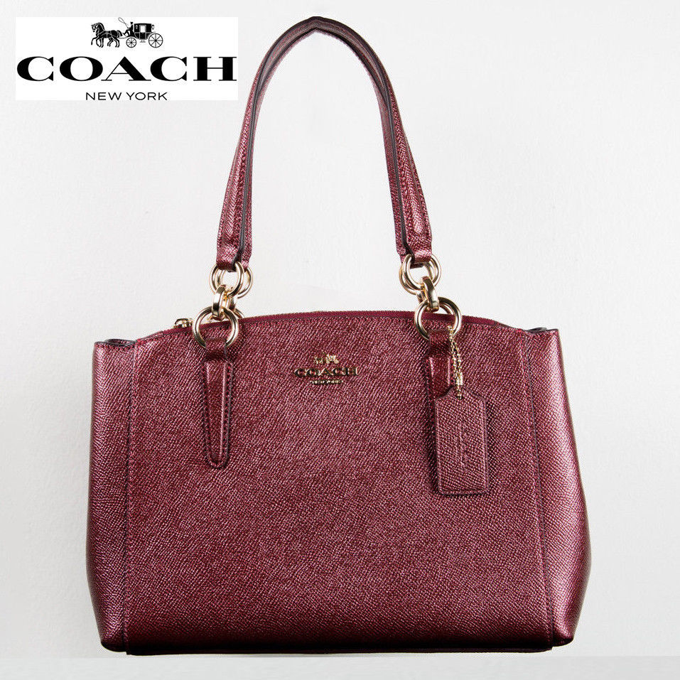 dc205115e337 57. 57. Previous. NWT Coach F23337 mini Christie Carryall Crossgrain Leather  Metallic Cherry · NWT Coach F23337 ...