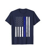 Thin Blue Line Police Flag Shirt American Patriotic July 4th Men - $26.18 CAD+