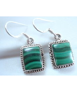 Malachite Earrings Sterling Silver Rope Style Border Accent w Beautiful Markings - $36.58