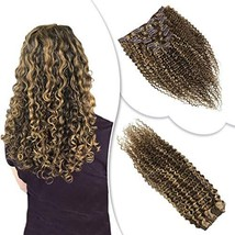 "RUNATURE #4/27 Highlights Kinky Curly Clip in Human Hair Extensions 18"" ... - $50.78"