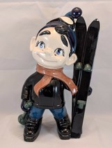 """Vtg 1970s Ceramic Skiing Boy w/ Freckles 12"""" Statue Hand Painted Figurine - $38.22"""