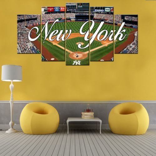 New York Yankees Home Decor: Framed 5 Piece New York Yankees Stadium Baseball Canvas