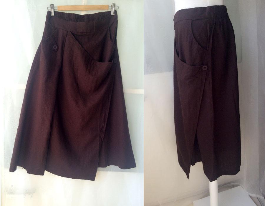 Women Long Wrap Skirt Summer Linen Cotton Skirt Elastic Waist Brown Black Gray