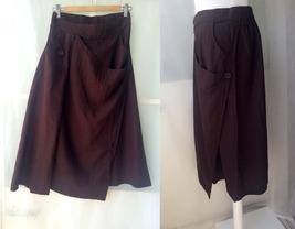 Women Long Wrap Skirt Summer Linen Cotton Skirt Elastic Waist Brown Black Gray image 1