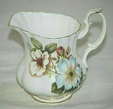 Royal Albert Bone China Mini Milk Creamer White & Blue Dogwood Flowers E... - $21.77