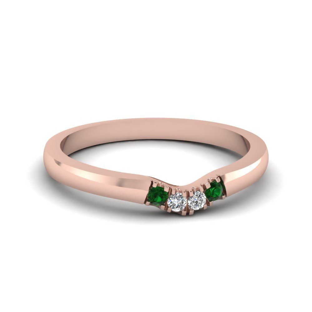 Primary image for Classic Green Emerald & CZ Diamond 14K Rose Gold FN Curved Wedding Band Ring