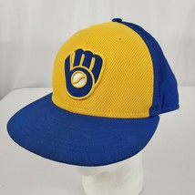 Milwaukee Brewers New Era Fitted Hat 7 5/8 Retro Blue Gold Road Cap Ball... - $17.99
