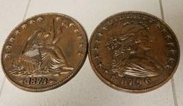 Set 2 Vintage Burwood Wall Plaques Liberty 1796 1873 Copper Coins Americ... - $29.09