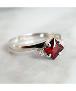 Solitaire Ruby Simulants Engagement ring - 925 Silver Ring - Wedding Ring - $84.00