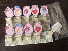 10pcs Paper Wooden Clips,Photo Wooden Pegs with twine,Pin Clothespin,favors - £2.96 GBP