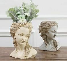 Beautiful Girl Flower Pot Greek Goddess Plaster Head Desktop Retro Plant... - $62.88