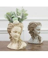 Beautiful Girl Flower Pot Greek Goddess Plaster Head Desktop Retro Plant... - $62.89