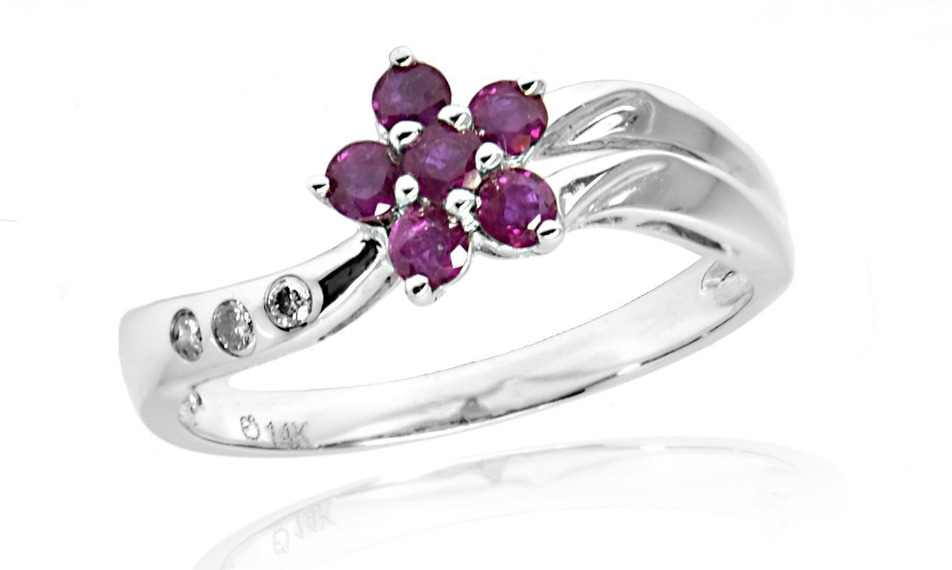 14 K 0.40 ct White Gold Genuine Ruby Flower with 0.03 ct Diamond Ring