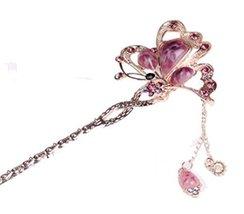Bridal Headdress Hair Ornaments Handmade Classical Hairpin, Purple Gem