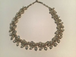 Vintage Coro Clear Pear Shaped Rhinestone Choker Necklace - $22.28